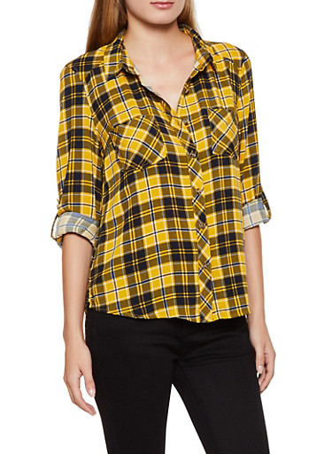 High Low Plaid Button Front Shirt,YELLOW,large