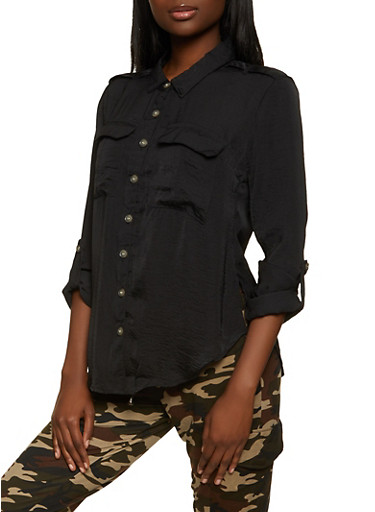 Tabbed Long Sleeve Button Front Shirt,BLACK,large