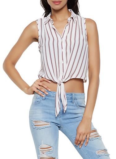 Striped Sleeveless Tie Front Shirt,WHITE,large