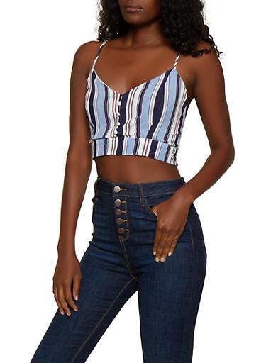 Striped Button Detail Crop Top,BLUE,large