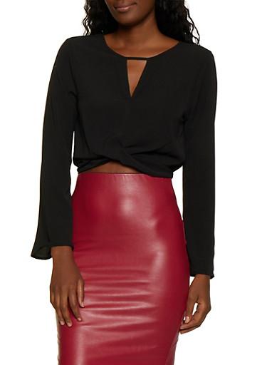 Crepe Knit Twist Front Crop Top,BLACK,large