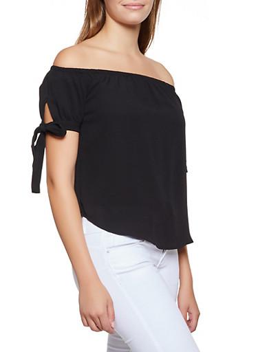 Crepe Tie Sleeve Off the Shoulder Top,BLACK,large