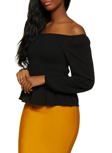 Smocked Off the Shoulder Peplum Top | 3001054261378,BLACK,large
