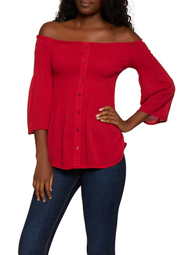Smocked Off the Shoulder Bell Sleeve Top,RED,large