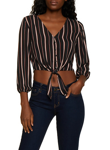Striped Button Tie Front Crop Top,BLACK,large