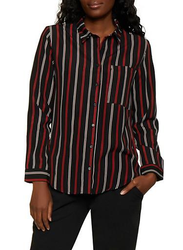Striped Long Sleeve Shirt   3001054261688,BLACK,large