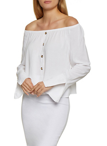 Button Detail Off the Shoulder Top,WHITE,large