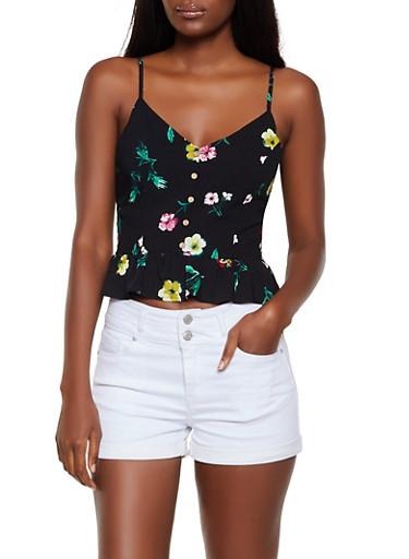 Floral Button Detail Peplum Top,BLACK,large