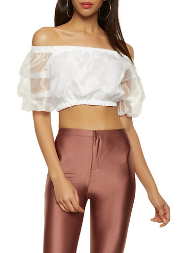 Off the Shoulder Organza Crop Top,WHITE,large