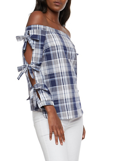 Plaid Bow Tie Off the Shoulder Top,NAVY,large