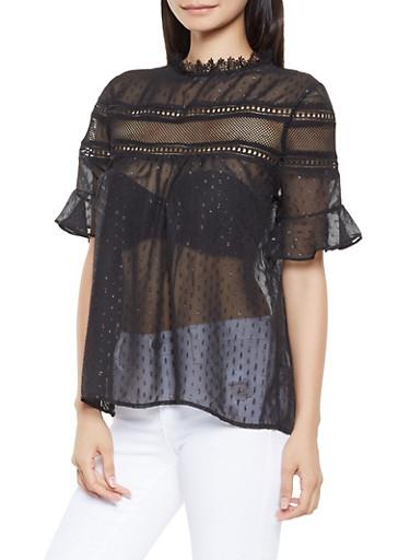 Swiss Dot Crochet Trim Top,BLACK,large