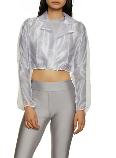 Organza Faux Wrap Crop Top,WHITE,large