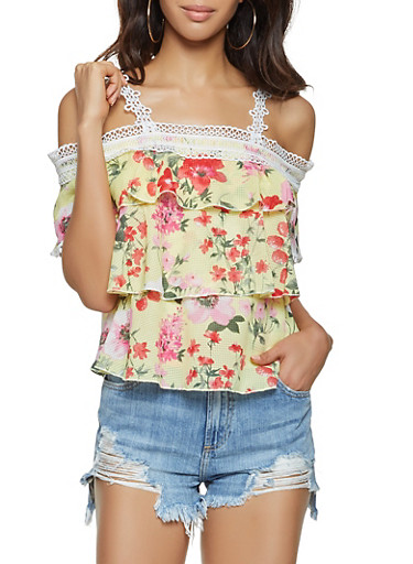 Ruffled Off the Shoulder Floral Top,YELLOW,large
