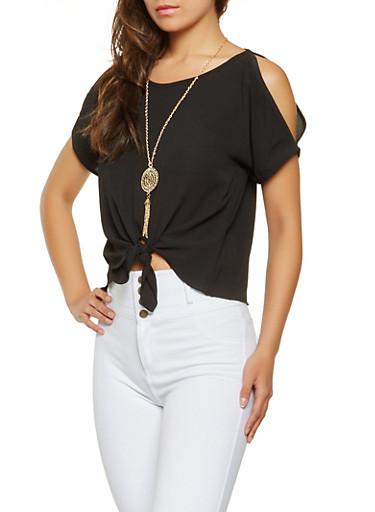 Split Sleeve Tie Front Blouse,BLACK,large