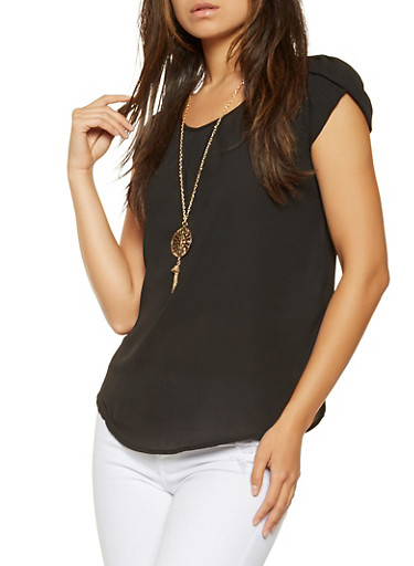 Cap Sleeve Blouse with Necklace,BLACK,large
