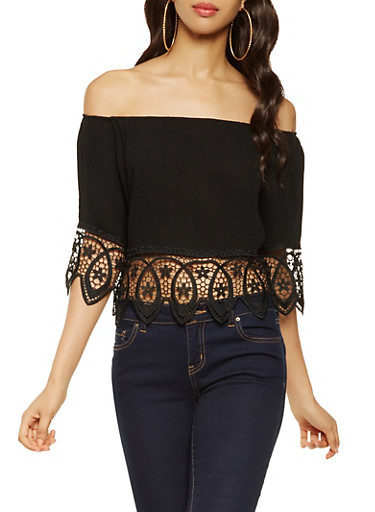 Crochet Trim Off the Shoulder Top,BLACK,large