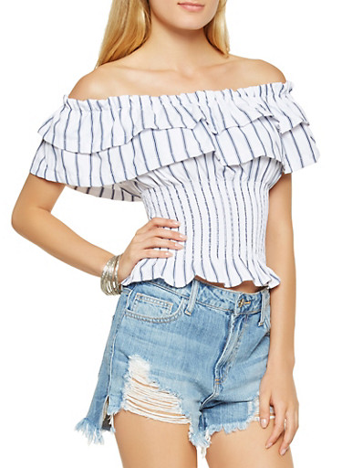 Striped Off the Shoulder Tiered Top,WHITE/BLUE,large