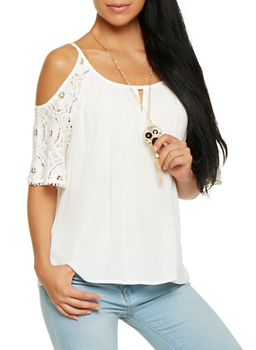 Crochet Sleeve Cold Shoulder Top with Necklace,WHITE,large