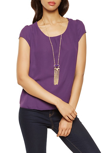 Short Sleeve Top with Necklace,PURPLE,large
