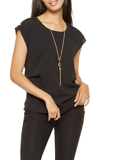 Ruched Crepe Knit Top with Necklace | Tuggl