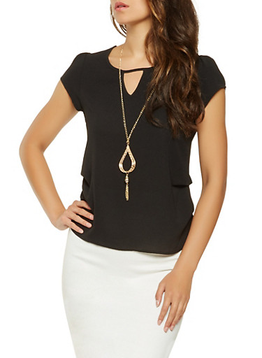 Crepe Knit Blouse with Necklace,BLACK,large