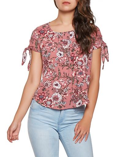 Floral Tie Sleeve Blouse,MAUVE,large