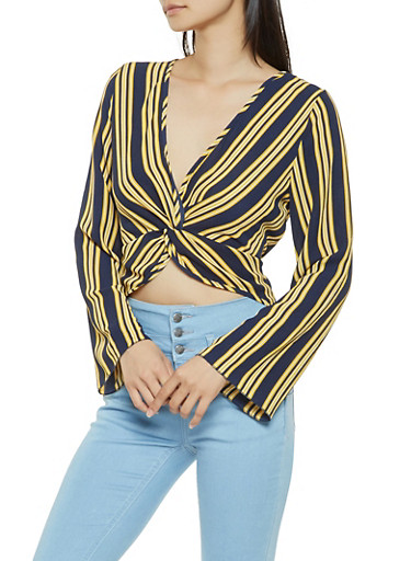 Striped Twist Front Top,NAVY,large