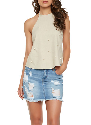 Faux Pearl Studded Halter Top,KHAKI,large