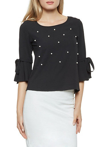 Faux Pearl Studded Crepe Knit Blouse,BLACK,large