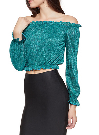 Shimmer Knit Off the Shoulder Top,TEAL,large