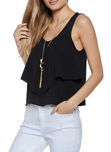 Ruffled Crepe Knit Tank Top with Necklace,BLACK,large