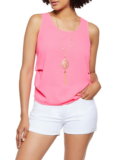 Ruched Crepe Knit Tank Top With Necklace by Rainbow