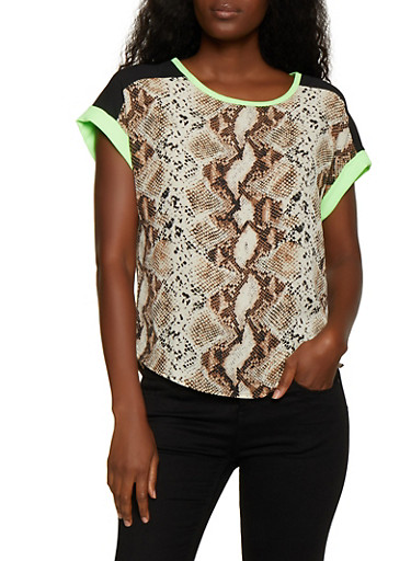 Snake Print Contrast Trim Top,BLACK,large
