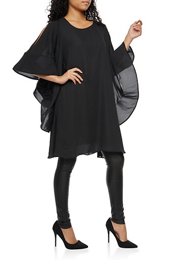 Cold Shoulder Wire Mesh Sleeve Tunic Top,BLACK,large