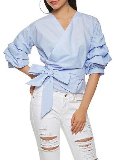 Bubble Sleeve Pinstripe Wrap Top,WHITE/BLUE,large