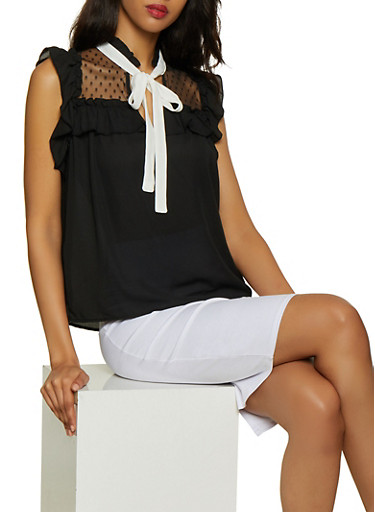 Contrast Tie Neck Sleeveless Blouse,BLACK,large