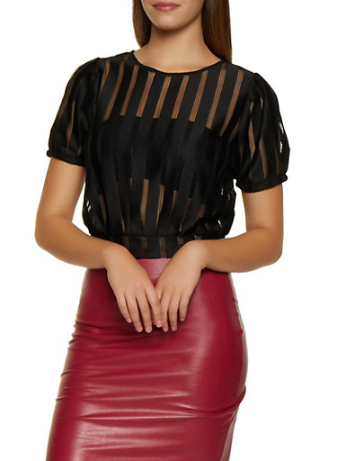 Shadow Striped Tie Back Top,BLACK,large