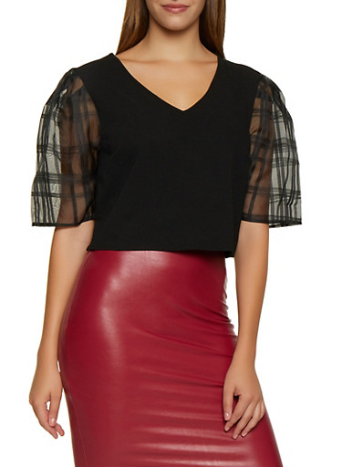 Plaid Organza Sleeve Crop Top,BLACK,large