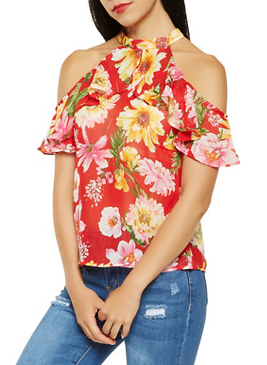 Sheer Floral Cold Shoulder Top,RED,large