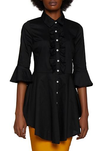 Ruffled Peplum Shirt,BLACK,large