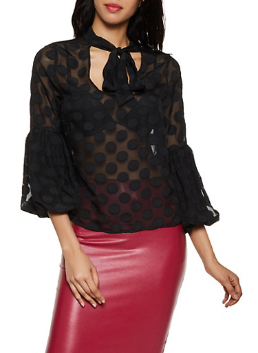 Polka Dot Bubble Sleeve Blouse,BLACK,large
