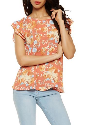 Floral Flutter Sleeve Blouse,RUST,large