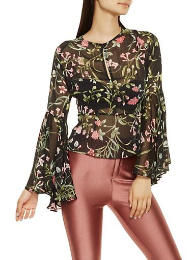 Floral Open Back Sheer Top,BLACK,large