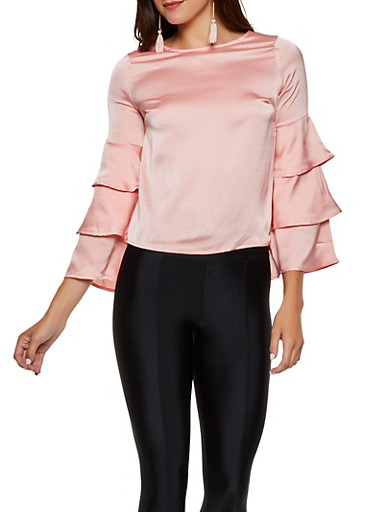 Tiered Sleeve Satin Blouse,PINK,large