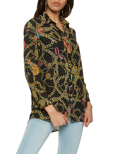 Chain Link Printed Button Front Shirt,BLACK,large