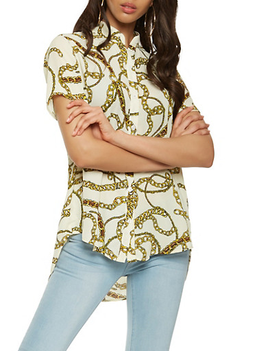 Printed High Low Button Front Shirt,WHITE,large