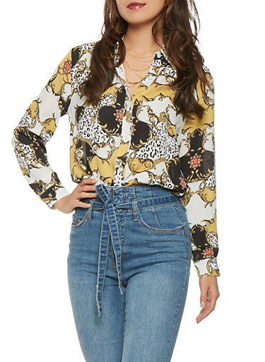 Printed Button Front Shirt,WHITE,large