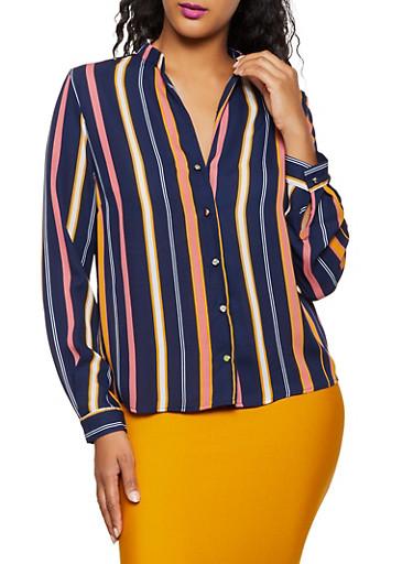 Striped Metallic Button Shirt,NAVY,large
