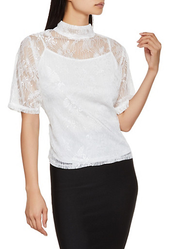 Zip Back Lace Top,WHITE,large