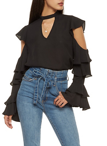 Tiered Long Sleeve Cold Shoulder Blouse,BLACK,large